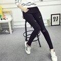3xl plus size calças mulheres primavera outono 2016 bermuda feminina preto branco leggings buraco lápis calças de cintura alta femininos A1304