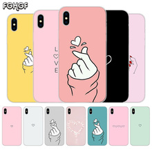 купить Loves Fundas Silicone Phone Back Case For Apple iPhone 6 6S 7 8 Plus X 10 XS MAX XR 5 5S SE Heart Cover Capa дешево