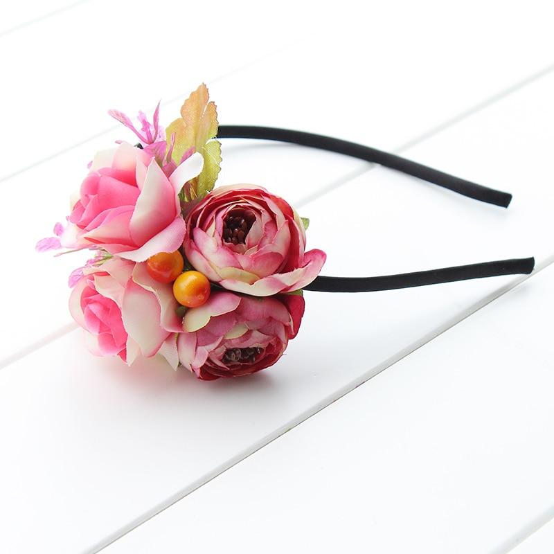 Spring Colorful Crown Hair Wreath Girl Breath Camellia Flower Simple Halo Woodland Hairpiece Wedding Headband