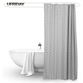 UFRIDAY Gray Stripe Design Shower Curtain Polyester Waterproof Bath Curtain for Bathroom Thicken Mildewproof Bathtub Curtains