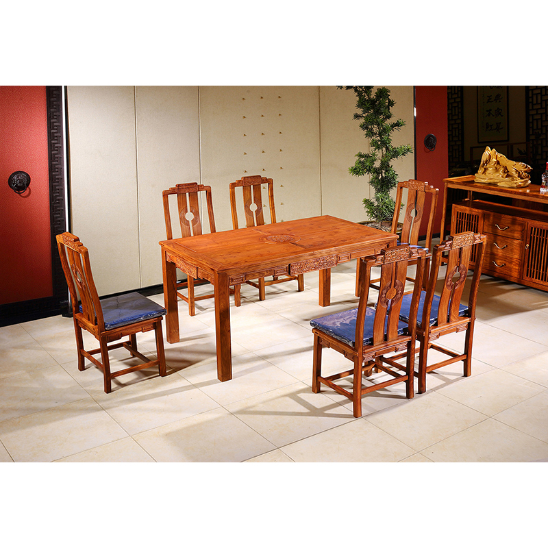 7pcs Hedgehog rosewood Round Table Set 6 Chair Solid Wood Armchair Desk Classic Red wooden Annatto Dining Room Furniture set