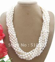 Beautiful 8Strds Natural White Pearl Necklace Free Shippment