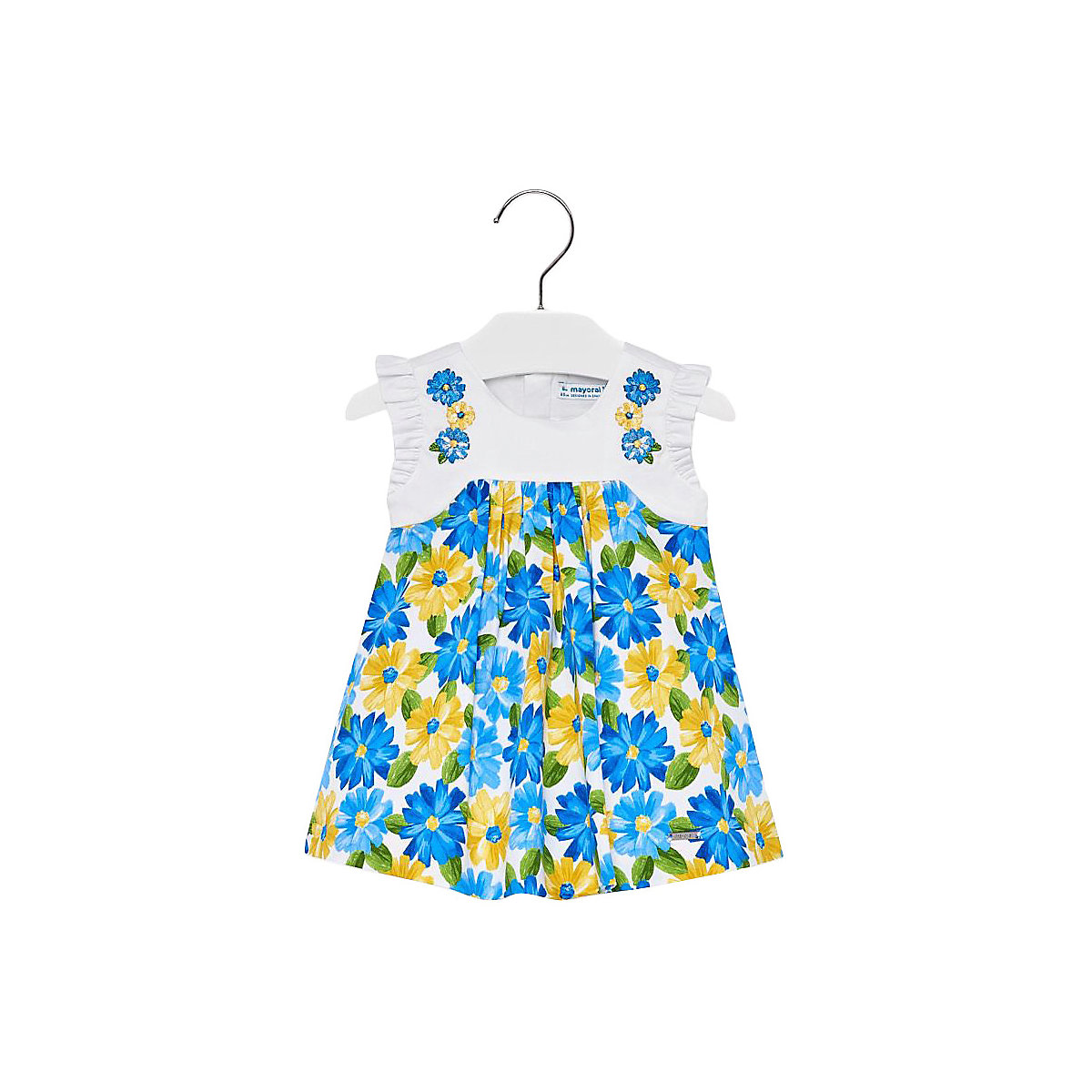 MAYORAL Dresses 10693298 Girl Children fitted pleated skirt Blue Cotton Casual Floral Knee-Length Short Sleeve