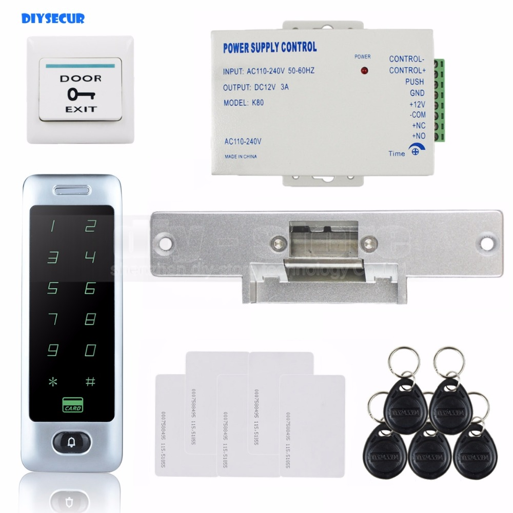 DIYSECUR 8000 User RFID Reader Touch Panel Password Keypad Door Access Control Security System Kit + Strike Lock