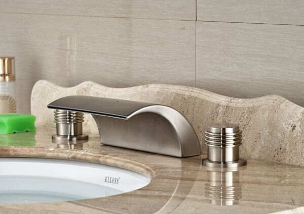 Bathroom Deck Mounted Basin Faucet Nickel Brushed Sink Mixer Tap Dual Handles Basin Mixer цена