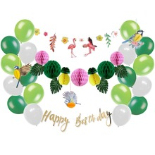 Summer Theme Birthday Party Decoration Set Flamingo Tropical Leaves Garland Honeycomb Pineapples Birds Latex Balloons