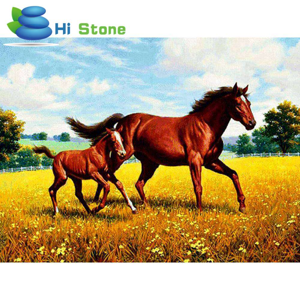 5D full drill diamond painting cross stitch animals diy diamond embroidery mosaic craft Strass pictures Two horses decoration