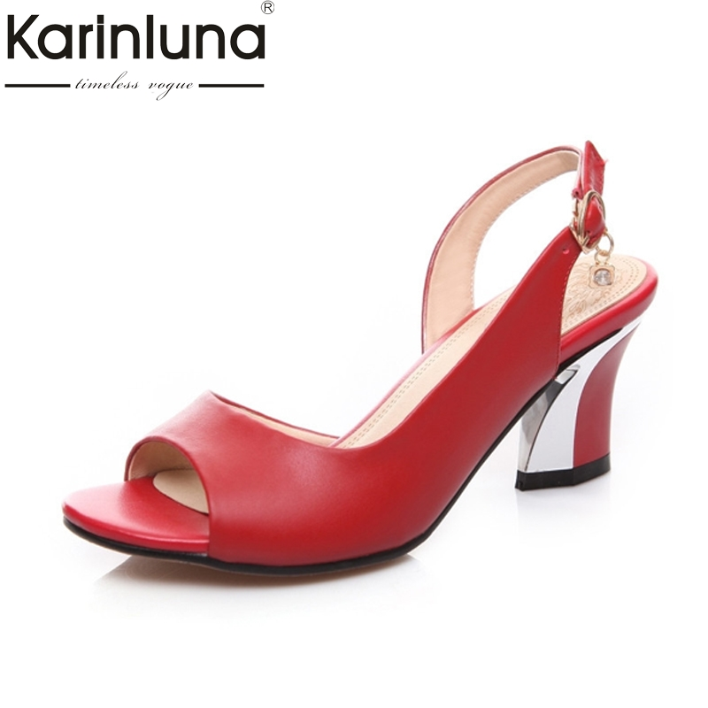 KARINLUNA New Big Size 33-44 Nature Leather Black White Woman Shoes Top Quality Hoof Heels Wedding Party Sandals Women
