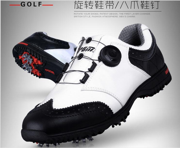 PGM golf mens shoes convenient comfortable knob system GOLF Men's shoes waterproof genuine leather spikers screw locking device mens women golf shoes genuine leather shoes british style waterproof breathable free shipping