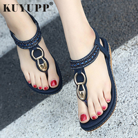 KUYUPP Fashion Leather Women Sandals Bohemian Diamond Slippers Woman Flats Flip Flops Shoes Summer Beach Sandals