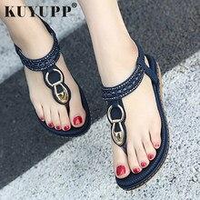 77456b86c51c KUYUPP Fashion Leather Women Sandals Bohemian Diamond Slippers Woman Flats Flip  Flops Shoes Summer Beach Sandals
