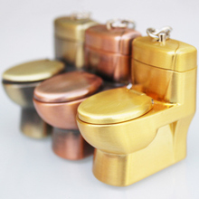 2019 Creative Compact Toilet Gas Lighter KeyChain Butane Lighter Inflated Toilet bowl Key Chain Lighter Bar Metal Funny Toys cute qq penguin style butane keychain lighter white black