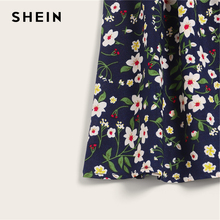 SHEIN Boho Navy Ditsy Floral Print Paperbag Waist Belted Flared Skirts Womens Summer 2019 Casual Frilled Pleated Mini Skirt