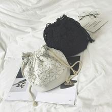 Bohemia Tuval İpli Lady Kova Çanta 2018 Yeni Zincirler Omuz Çanta kadın Bağbozumu Postacı Çantaları Bolsa Feminina Bolsos