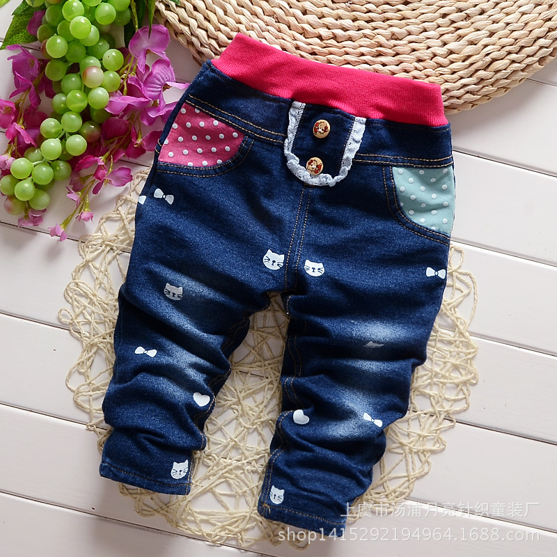 2017 autumn Baby Girls and Boys Denim pants,Children Pattern Fashion trousers,V1883/V1884