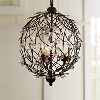 nordic American Modern Crystal Chandelier Tree branches ball black iron for living room Bedroom Kitchen hanging lighting 40