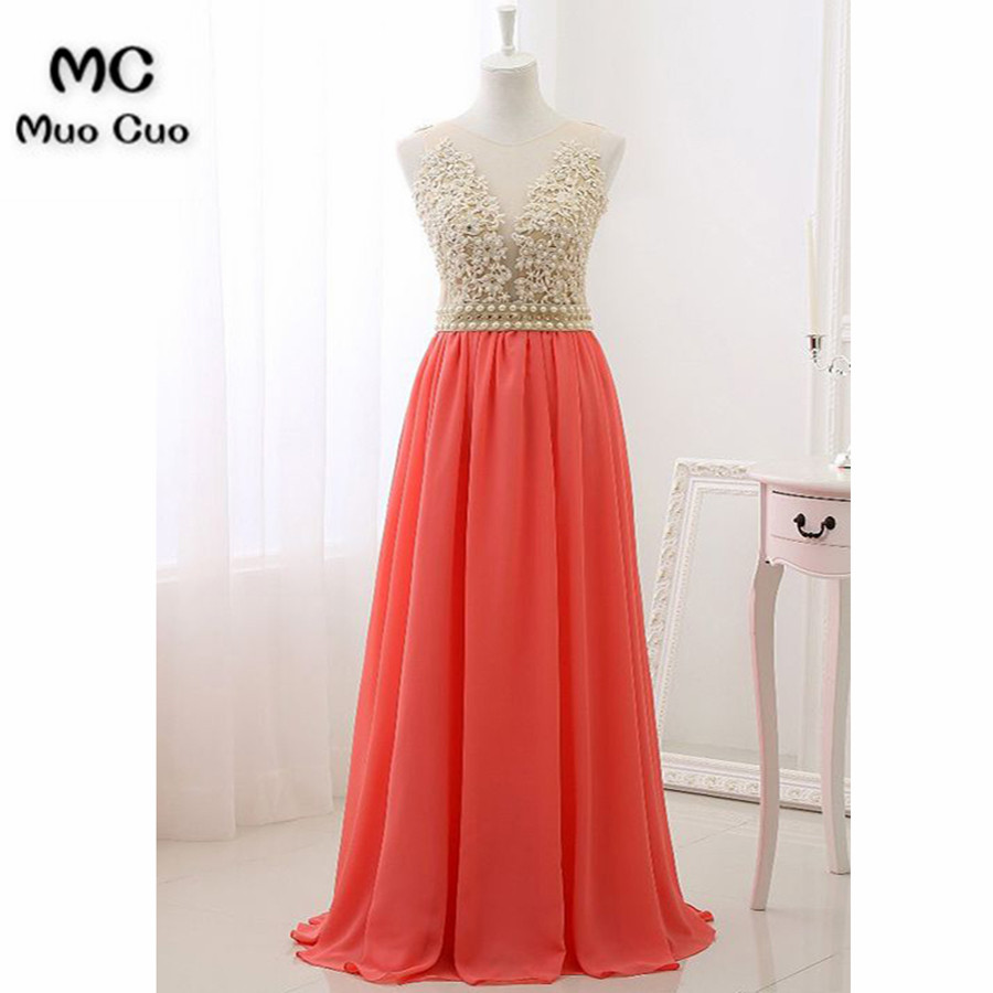 2018 Elegant Coral Prom Dresses Long with Pearls Applique vestido de festa Chiffon Formal Evening Party Dress 100% Real