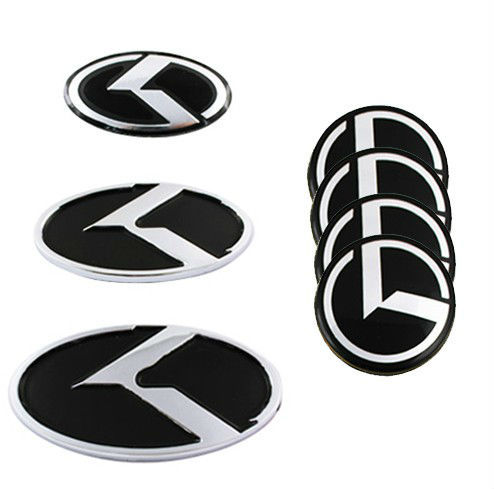 Kia K Logo Hood Trunk Steering Car Wheel Centre Cap Emblem Badge Set Of 7pcs