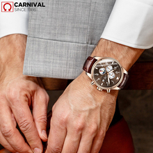 CARNIVAL Big Blue Dial Men Watch Multiple calendar Luminous pointer Waterproof Automatic mechanical watch Luxury Brand relogio
