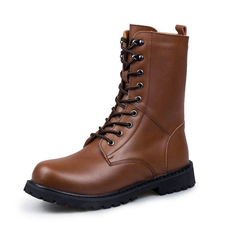 Plus brown En Hiver Cotton Black Chaud 188 Hommes Chaussures Hh Surface noir Bottes Tactique Cotton Peinture Casual marron Cowboy Simple Cuir xxZHr