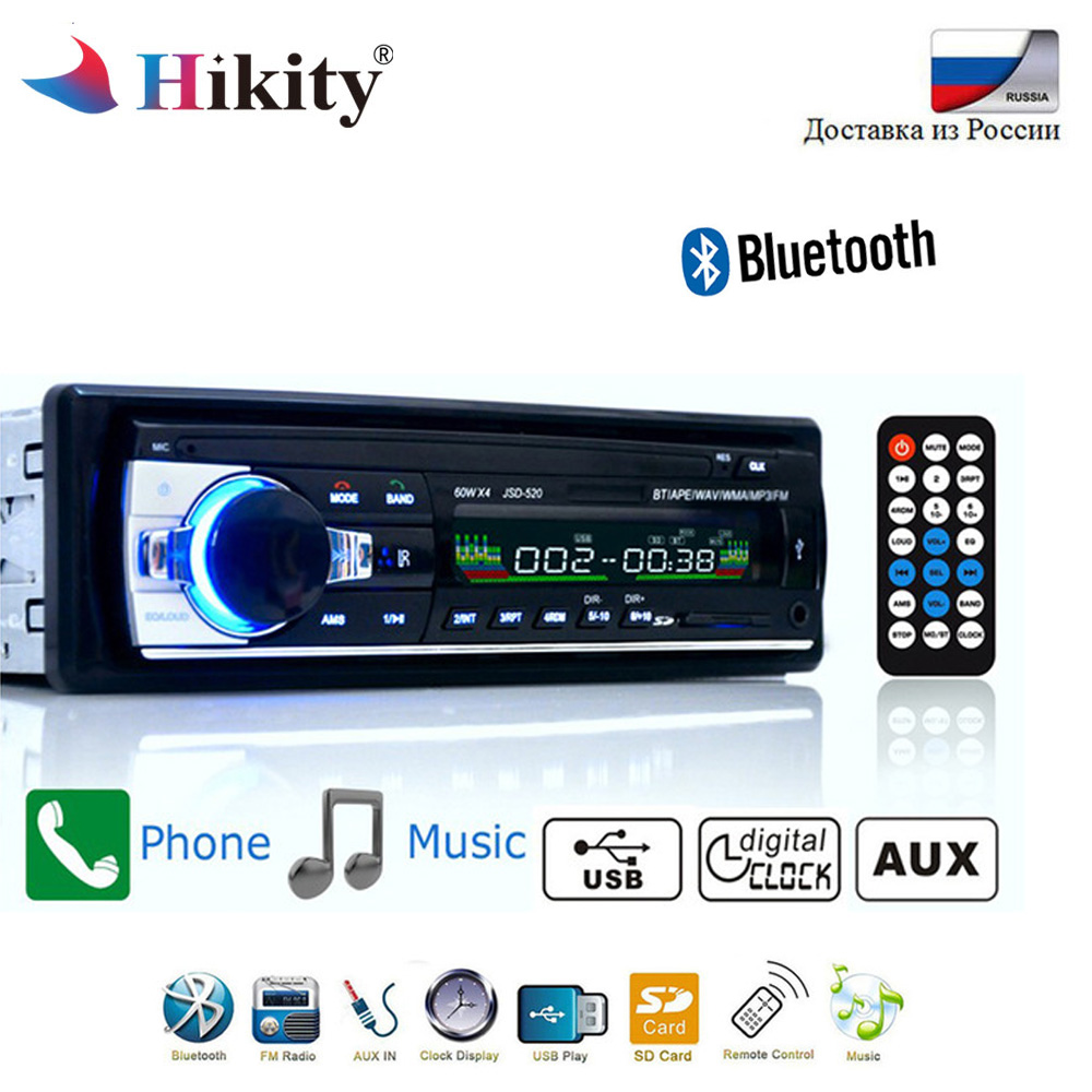 Hikity Bluetooth Autoradio 12V Car Stereo Radio FM Aux-IN Input Receiver SD USB JSD-520 In-dash 1 din Car MP3 Multimedia Player(China)