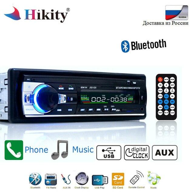 Hikity Bluetooth Autoradio 12 12v 車ステレオラジオ FM Aux 入力入力レシーバ SD USB JSD-520 インダッシュ 1 din 車 MP3 マルチメディアプレーヤー
