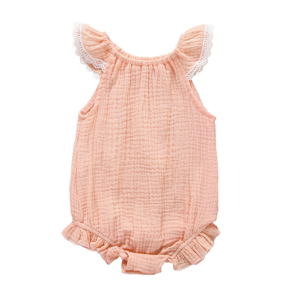 Newborn Baby Girl Lace Ruffled Solid Color Linen Cotton Sleeveless Backless Romper Jumpsuit Outfit Sunsuit in Bodysuits from Mother Kids