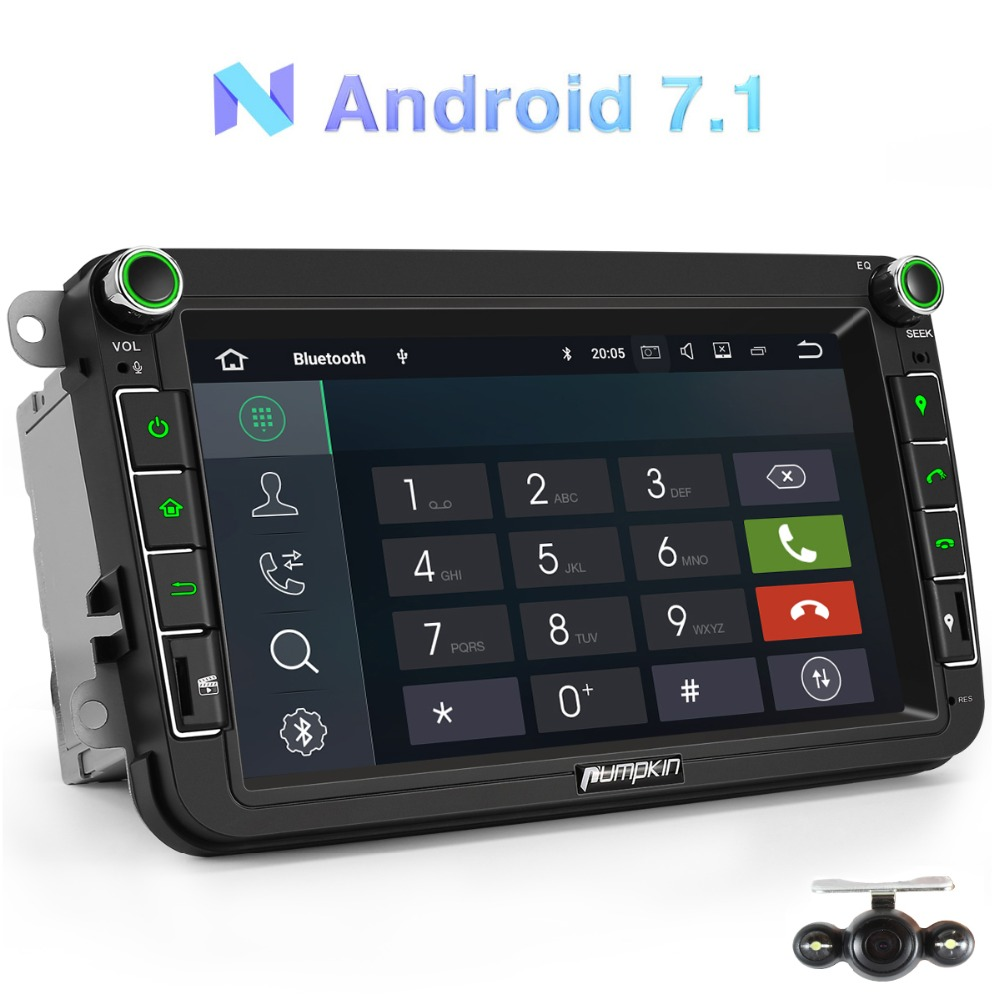 Citrouille 2 Din 8''Android 7.1 Voiture lecteur multimédia NO DVD navigation gps Pour VW/Skoda/Seat/Golf autoradio stéréo lecteur audio