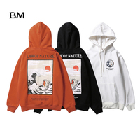 Japanese Streetwear Embroidery Funny Cat Wave Printed harajuku Fleece Hoodies Winter Hip Hop off white Casual Sweatshirts