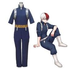 อะนิเมะของฉันBoku No Hero Academia Shouto Shoto Todorokiคอสเพลย์เครื่องแต่งกายชุดนักเรียนชุดJumpsuitวิกผมBootsรองเท้าชุด