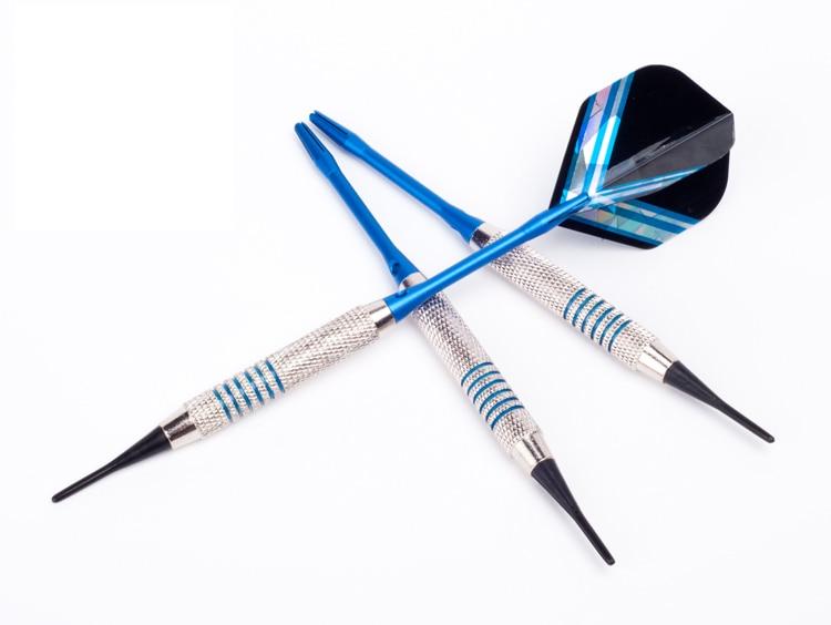 Комплект из 3 предметов Высокое качество 18 г сталь, медь, алюминий вал мягкий наконечник Дротика игрушки синий/коробка Бесплатная доставка