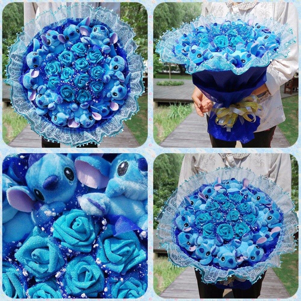 1 pc Point Bouquet En Peluche Animaux de Carton Jouets Artificielle Kawaii Dessin Animé Faux Fleurs Meilleur Anniversaire Cadeaux De Noël