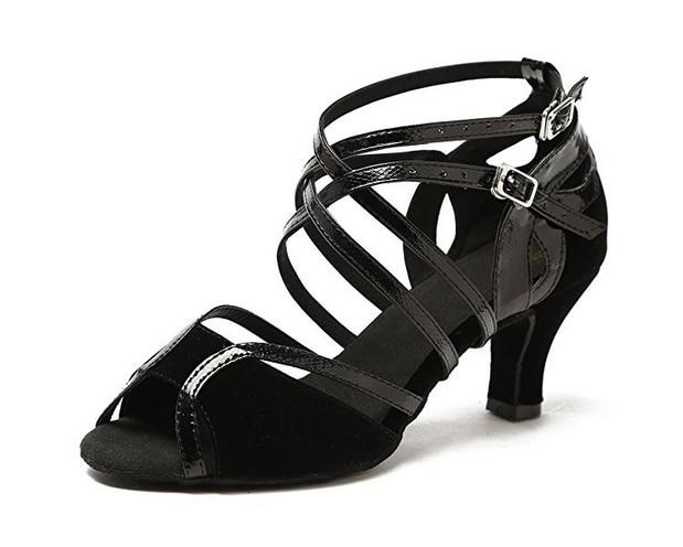 Նոր կանայք Աղջիկներ Սև Sude Salsa Tango Ballroom Dance Shoes Latin Latin Shoes Shoes Mambo Dance Shoes ALL Size