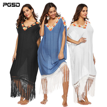PGSD New Spring Fashion women clothes Handhook splicing long tassels Loose Short Sleeve V-collar Beach Blouse Long Dress female lace splicing long sleeve peasant blouse
