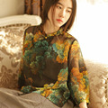 SCUWLINEN 2017 Women Blouses Stand Collar Half Sleeve Vintage Print Handmade Buttons Tencel Kimono Women Tops Loose Shirts S92