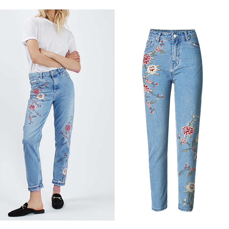 2019 Brand Fashion Women 3D Front Rear Embroidery High Waist Slim Pencil Pants Fresh Pastoral Style Ladies Hot Denim Pantalones