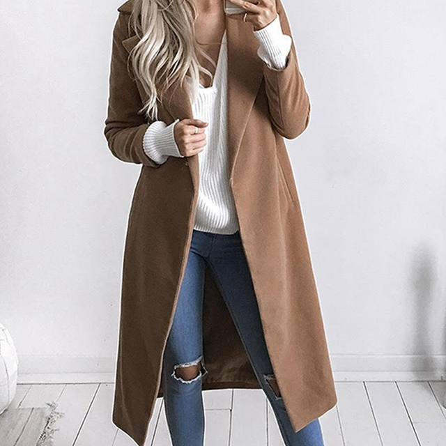 Women's Winter Wool Coat Lapel Warm Coat Oversize Long Slim Trench Outerwear Wool Coat Solid Open Stich Tops Female Big Size 3 Xl by Faroonee