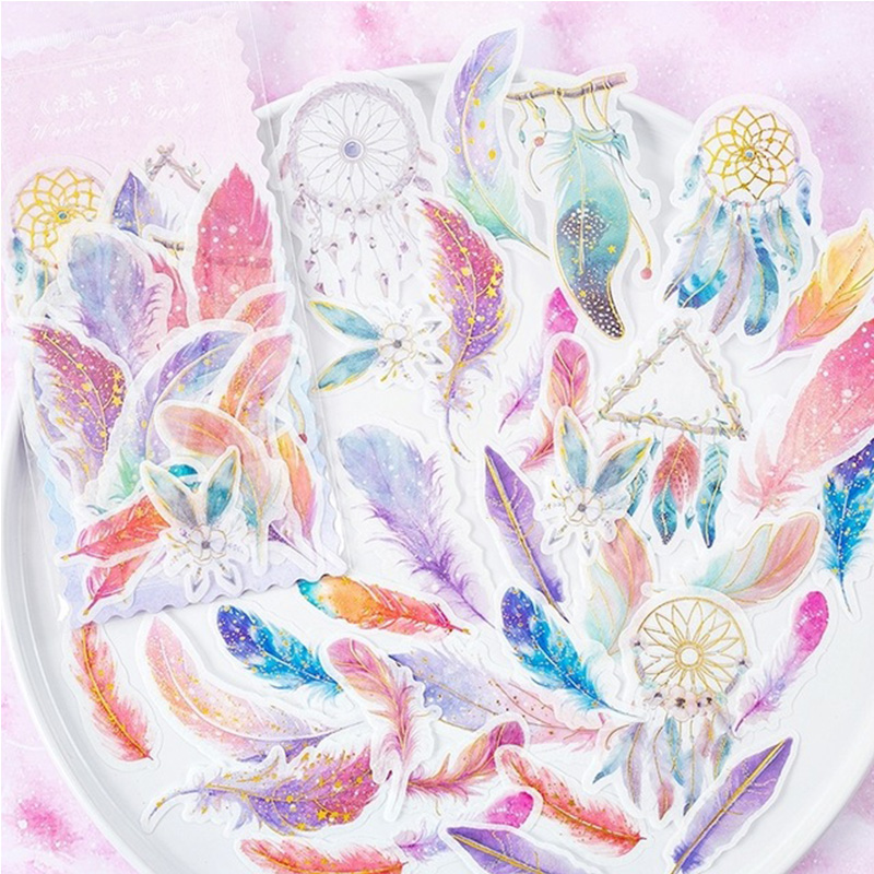 60 Pcs/Pack Feather Whale Sticker Kawaii Bullet Journal Sticker Kid's Diary Decoration Stickers Scrapbooking Japanese Stationery