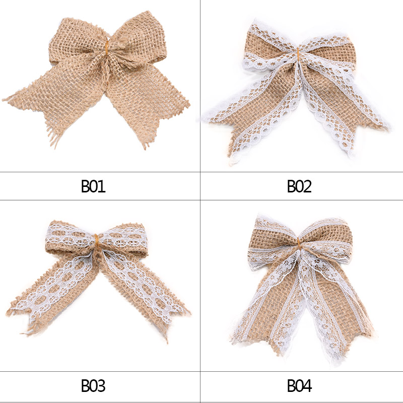 5/10Pcs Natural Jute Burlap Hessian Bow Lace Rustic Wedding Chrastimas Decoration Hat Accessories DIY Craft Party Decor Bowknot