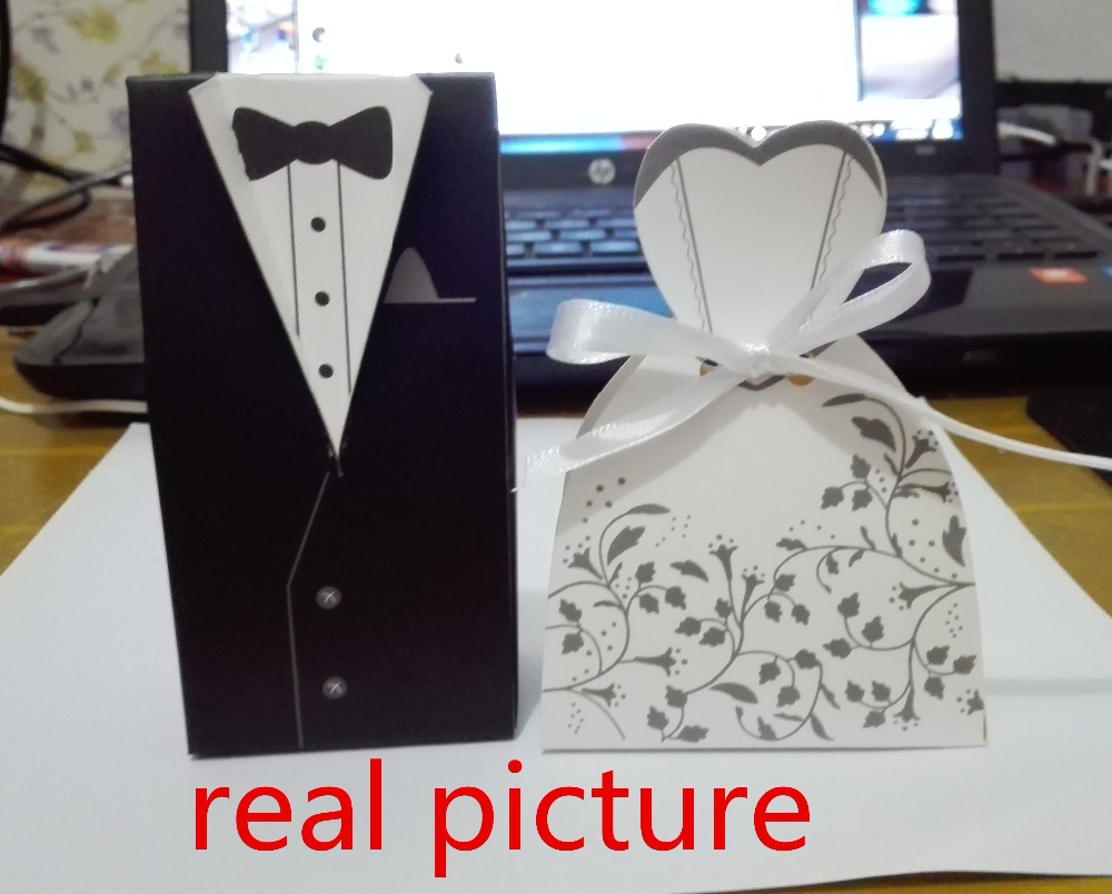 200pcs Lot Wedding Favor Gifts Bride And Groom Evening Dress Candy Box Event Party Supplies Free