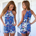 2016 new fashion women blue print hollow out sexy backless sleeveless casual dress summer wear print dress plus size