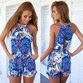 2016 nuevas mujeres azul impresión atractiva ahueca hacia fuera sin mangas backless ocasional del desgaste del verano impresión más el tamaño