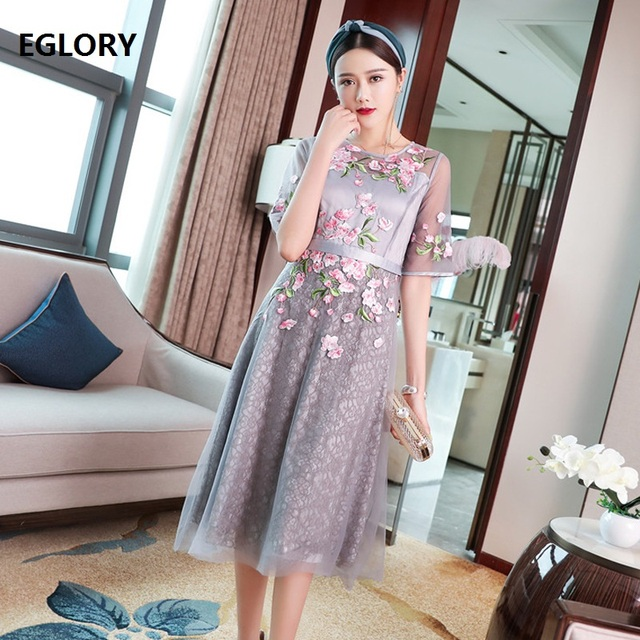 Formal Party Elegant Dress 2019 Summer Style Women Luxury Embroidery Short Sleeve Mid-Claf Length Apricot Grey