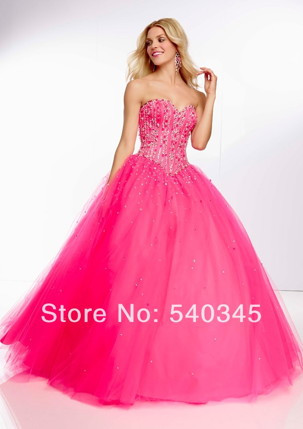Tulle Formal Long   Prom     Dresses   2014 Ball Gown Sweetheart Crystal Bead Sequin Sexy Backless Lace-up Floor-Length Party   Dress   A22