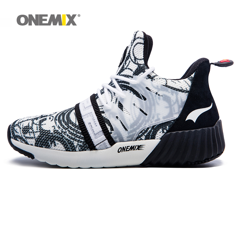ONEMIX Man Running Shoes For Women Sport Shoe High Walk Outdoor Sneakers Athletic Men Black White Increasing height Size 36-45