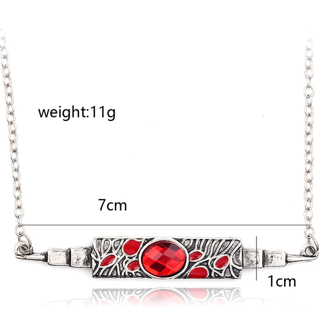 10Pcs Fashion Long Necklaces Avengers Red Stone 3D Knife Switchblade Statement Necklace Infinity War Thanos and Gamora Pendant