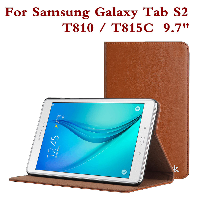 Fashion Leather Case for Samsung Galaxy Tab S2 9.7 T810 Tablet Cover T815C T815 Protective Skin Shell Screen Film Pen As Gift