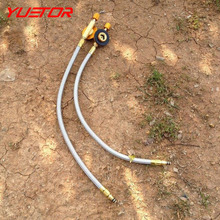 Brand YUETOR gas stove accessorie LT19 anti-corrosion stainless steel braided pipe + valve 37cm camping stove head accessories