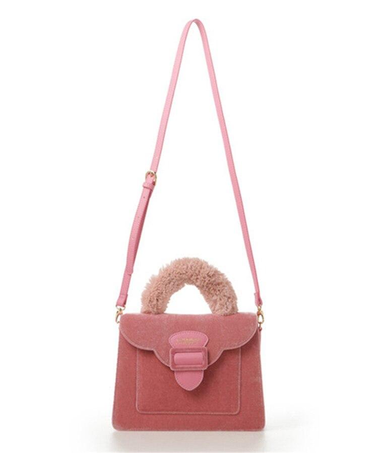 17 Christmas limited velvet suede handbag Samantha Vega plush handle organ shoulder bag Retro small flap square Messenger bag 15