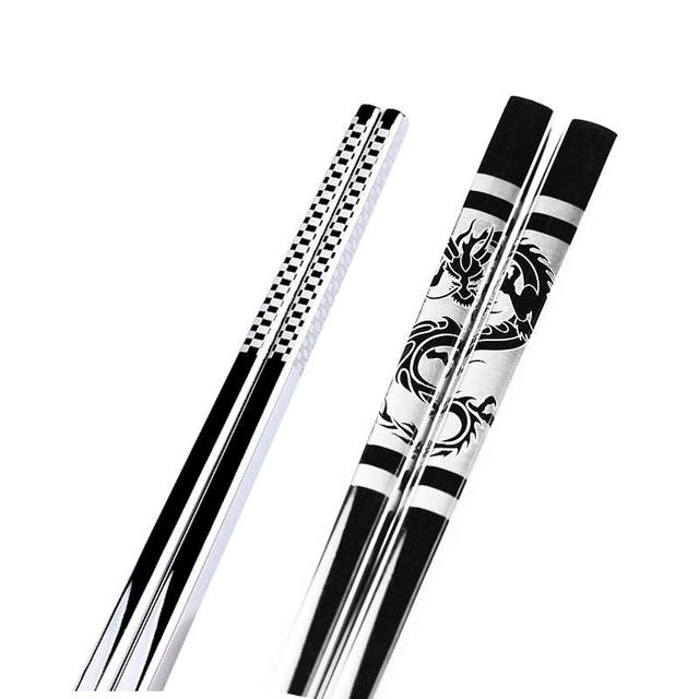 Vacclo 1pair Stainless Steel Anti Skid Dragon Chopsticks Sushi Metal Iron Portable Chinese Healthy Food stick Tableware 4